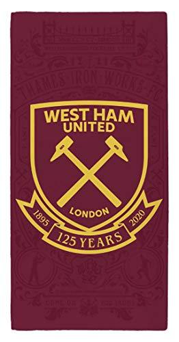 West Ham United Crest Toalla de playa 100% algodón - Edición limitada