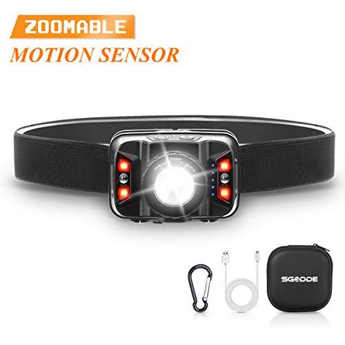 SGODDE Stirnlampe LED, Fokusverstellbar Scheinwerfer Sensor Kopflampe Warnen- Rotlicht, 260 Lumen USB Wiederaufladbare Wasserdicht haltbar und schlagfeste Kopfleuchte, mit kostenlos Schutzetui