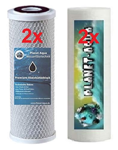 Ersatzfilter 10 Zoll für Osmoseanlage Wasserfilter und die Umkehrosmose. Filterset besteht aus 2 x Sediment Filter 5 Mikron + 2 x Aktivkohle Block Kartusche Patrone. Osmose Trinkwasser Aquarium Wasser