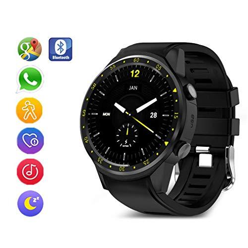 Fitnesstracker, sport smartwatch met slaap-hartslagmeter GPS stopwatch bluetooth smartwatch simkaart polshorloge voor Android iOS telefoons, zwart