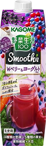 野菜生活100 Smoothie Wベリー&ヨーグルトMix アサイー入り 1000g×6本 紙パック