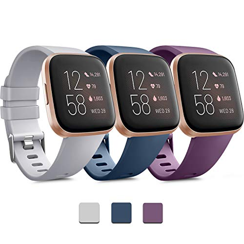 Pack 3 Soft Silicone Bands Compatible for Fitbit Versa 2 / Fitbit Versa/Fitbit Versa Lite Adjustable Sport Bands for Women Men Small Large(Without Tracker) (Large, Grey+Blue+Purple)