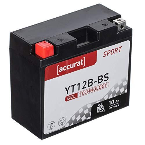 Accurat Motorradbatterie YT12B-BS 10Ah 160A 12V Gel Technologie Starterbatterie in Erstausrüsterqualität zyklenfest sicher lagerfähig wartungsfrei