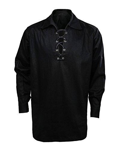 Cusfull Männer Schottisches Jacobite Ghillie Kilt Hemd Herren Schnürhemd - Schwarz/Weiß/Creme