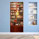 FLFK 3D Retro Bücherregal Wohnzimmer Türtapete Wandbilder