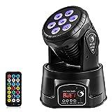 Cabeza Movil LED,UKing 7 LED RGBW Luz de Escenario DMX512 con Control Remoto,4 Colores con 5 Modos para Partido Disco DJ Show del club Bar Boda