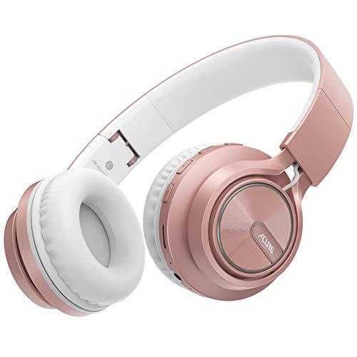 ACURE AC01 Cuffie Bluetooth senza fili Cuffie auricolari pieghevoli con microfono HD/Scheda TF/Modalità cablata rimovibile per PC TV Cellulare iPad MP3 (Oro rosa)