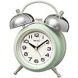 セイコークロック 置き時計 01:薄緑 本体サイズ: 17.8×14.2×8.4cm 目覚まし時計 アナログ ツインベル レトロ KR508M