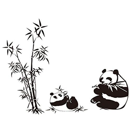winhappyhome Bambou Noir Pandas mur Art Stickers pour chambre d'enfants Salon Chambre fond amovible DIY Décor Nail Art