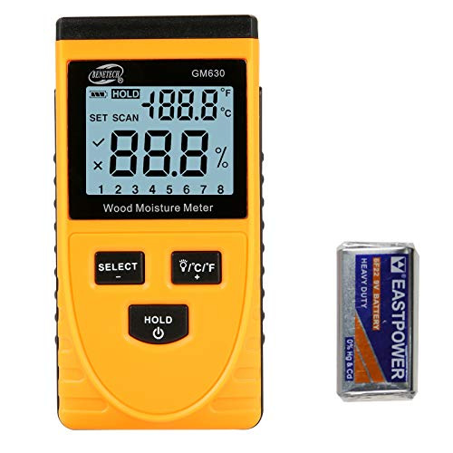 Digital Wood Moisture Meter Pinless induction with 8 gear position adjustable 50mm Detection depth for cheacking Wall leak and Furniture Wood Moisture