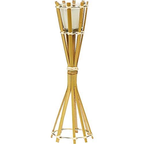 Jay Trends Bamboo Tiki Torch Candle Holder, 4' Dia. x 12 3/4' H, Includes 2 1/2' Dia. x 2 1/2' H Wax Candle