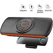 NETVIP Bluetooth Car Speakerphone Sun Visor Bluetooth 4.2 Handsfree Car Kit Audio Speakerphone TF Music Player Wireless Sun Visor Player Multifunction Stereo Music Speaker Dual Link Connectivity