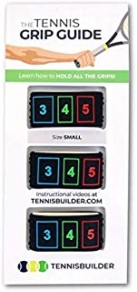 The Tennis Grip Guide by Tennisbuilder | Designed for Kids Tennis Racket and Beginner Tennis Players (Small, 3 Pack)