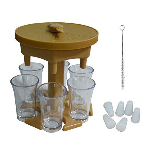 tidystore Dispensador y soporte para 6 vasos, dispensador para cócteles de plástico con tocadiscos de juego y 6 tazas para bebidas líquidas.