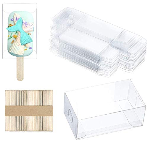 25pcs Clear Popsicle Cakesicle Boxes, Clear PET Candy Treat Box Ice Cream Box Plastic Gift box with 50pcs Wooden Popsicle Stick for Kitchen Baking Baby Shower Wedding Kids Birthday Party Favor