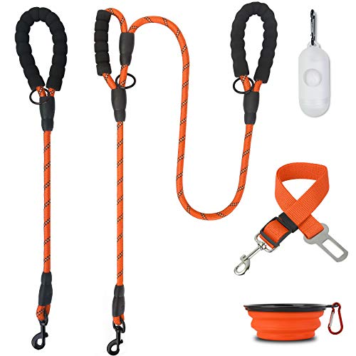 MUMUPET 2 Pack Dog Leash 5 FT Heavy Duty Dog Leash And 2 FT Strong Dog Leash With Comfortable Padded Handle and Highly Reflective Thread (With Poop Bags Dispenser & Pet Bowl & Pet Car Seat Belt Leads)