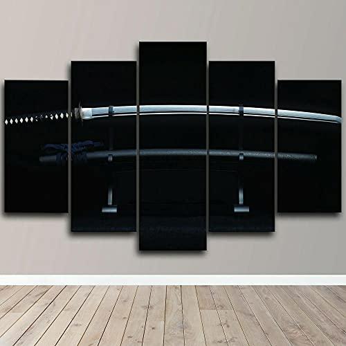SGDJ Impresión de Lienzo de Pared Arte Espada Samurai Japonesa Afilada 5 Piezas Pinturas Giclée de Moderna Estirada y Enmarcado Arte Cuadros estirados y enmarcados