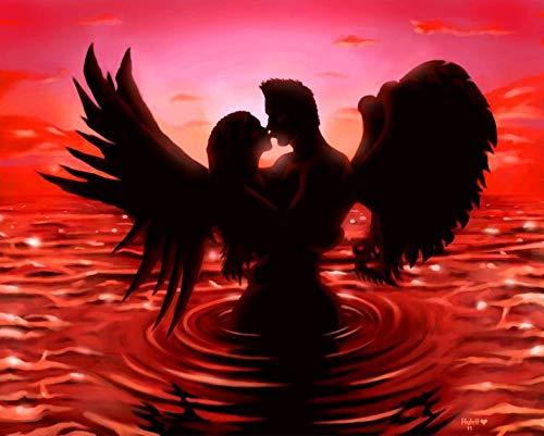 Black Angel Wings 5d Diamant Malerei Landschaft DIY Diamant Stickerei Kreuzstich Strass Mosaik Home Decoration Neue seltsame Wohnzimmer und Schlafzimmer Wandgeschenke (Quadrat 40x50cm)