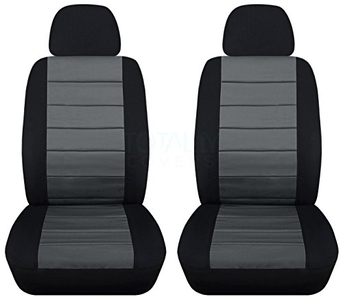 Totally Covers 2-Tone Car Seat Covers w 2 Separate Headrest Covers: Black and Charcoal - Semi-Custom Fit - Front - Will Make Fit Any Car/Truck/Van/RV/SUV (22 Colors)