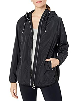 Calvin Klein Women's Crossover Back Water Repellent Hooded Spectator Jacket, Black, X-Large by Calvin Klein Performance Women's Activewear