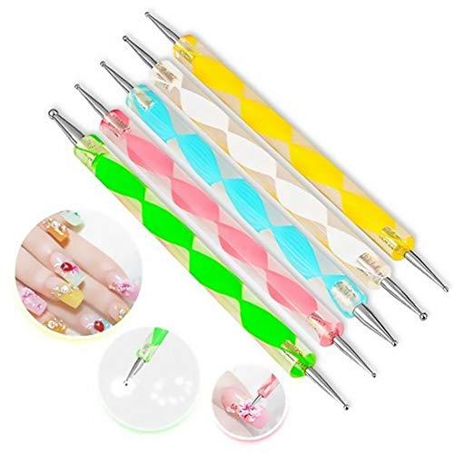 Xiton 5 Stück Nail Art Dotting Tools Spot Swirl verschiedenen 2 Spitzen Swirl Tools nageldesign zubehoer Präge Stylus Malerei Set nägel zubehör