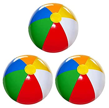 Beach Balls [3 Pack] 20  Inflatable Beach Balls for Kids - Beach Toys for Kids & Toddlers Pool Games Summer Outdoor Activity - Classic Rainbow Color by 4E s Novelty