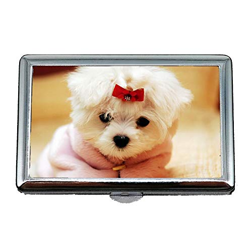 Stahl Zigarettenetui Metall Box, Bunte Hunde niedlichen Hund, Kreditkarten-Protector