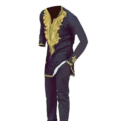 Hzjundasi Hombre Africano Tradicional Festival Vestidos Cuello EN V Tops Tribal Camisas Impreso Manga Larga Dashiki