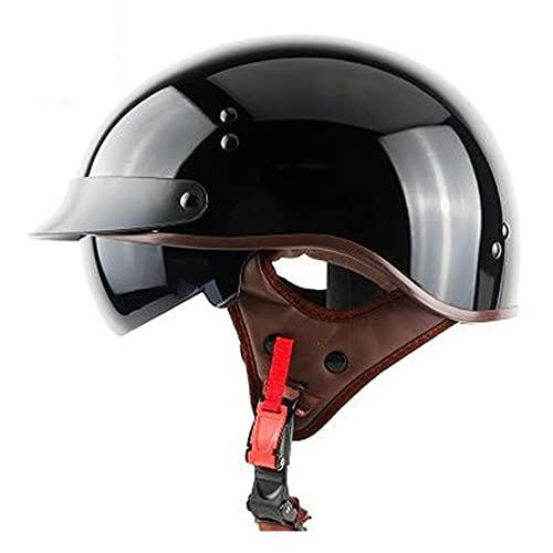 Casco a scodella per moto con design vintage Mezzo Caschi Moto Casco Aperto Approvato DOT/ECE Casco Demi Jet per Donna Uomo Adulti (Color : Black A)