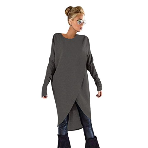 VJGOAL Damen Pullover, Damen Mädchen Mode Frühling Herbst unregelmäßigen Stricken lose Sweatshirt Pullover Lange Tops Bluse (L, Dunkelgrau)