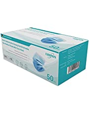 EUROPAPA 50 stuks wegwerp-gezichtsmaskers met elastische oorlus, 3-laagse oorlus, ademend, vlies-mondbedekking voor thuis, park, kantoor