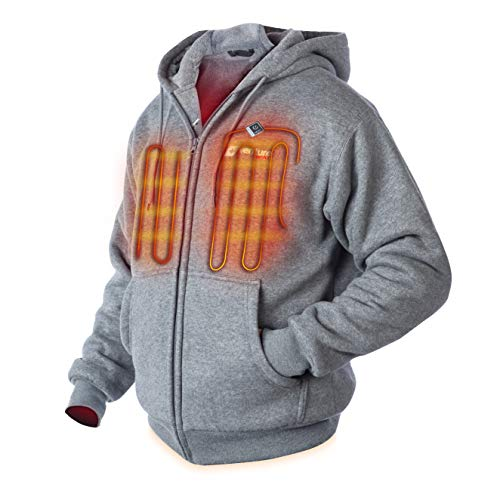 Venture Heat Heated Hoodie with Battery - Plush Thick Fleece, Electric Sweater Jacket Men Women, Transit 2.0 (L, Gray)