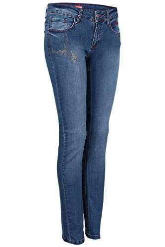 h.moser Salzburg Damen Damen Trachten-Jeans mit Strass-Applikationen, Jeansblau, 42