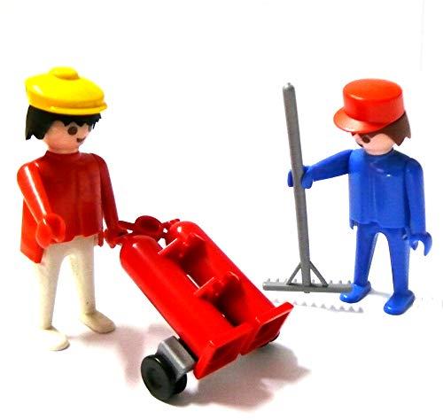 Playmobil ® 1 Arbeiter mit Sackkarre und 2 Gasflaschen - 1 Mann mit Harke