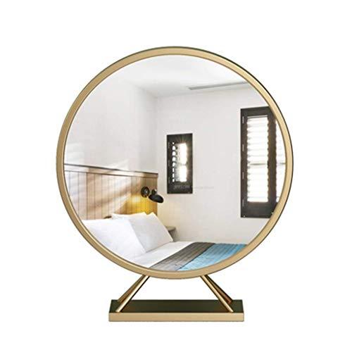 HIGHKAS Espejo de tocador, Iron Art Espejo de Maquillaje Moderno Escritorio portátil Espejo Grande Espejo de tocador Redondo Escritorio Hogar Escritorio (Color