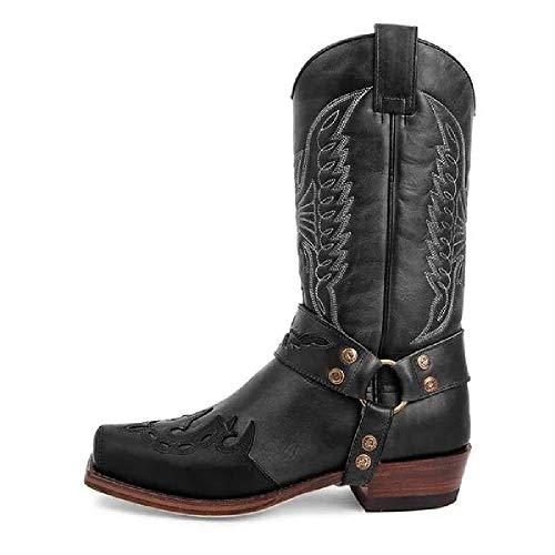 DIQIU Herren Western Cowboystiefel, Vintage Stickerei Ritter Stiefel Square Toe Martin Stiefel Motorradschuhe Große Arbeit Lange Stiefel,Black-48