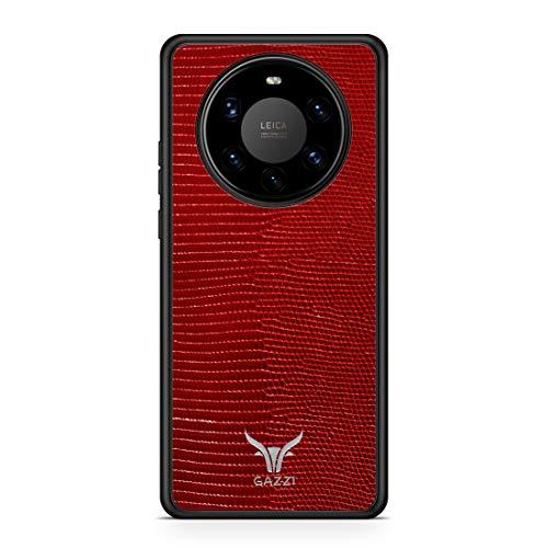 GAZZI Lederhülle für Huawei Mate 40 PRO Hülle Hülle Schale Backcover Handyhülle Schutzhülle Echt Leder, R&umschutz, Flexible Schale (Lizard Rot Silber)