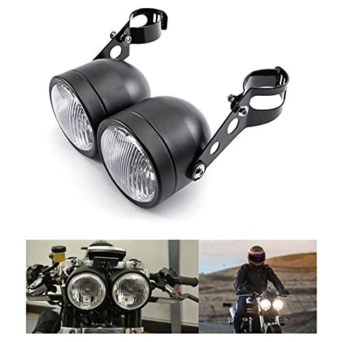 Fari moto doppi fari anteriori con staffa per Bobber Chopper Cafe Racer