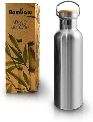 Bambaw Edelstahl Trinkflasche 750 ml | Isolierte Thermosflasche für Sport, Büro, Schule, Outdoor | Auslaufsicher & ohne Plastik | Langlebige Wasserflasche für heiße & kalte Getränke | Metall Flasche