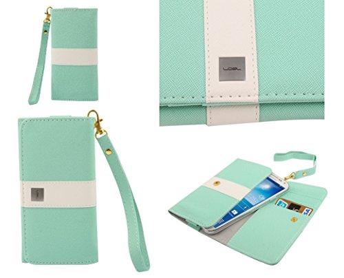 DFVmobile - Etui Tasche Schutzhülle aus Premium Mit Motiv Liniendesign mit Kartenfächer für jiayu g2 / g2+ Plus - Hellgrün