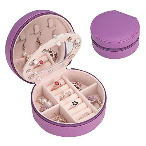 Honyan Caja organizadora de joyas, de piel sintética, caja de almacenamiento de 3 capas, pequeña caja de joyería con espejo