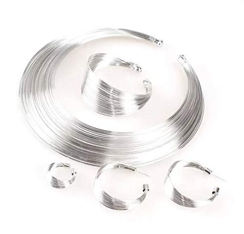 Conjunto de joyería india, gargantilla de Torques de alambre de Metal a la moda, collares, pendientes, anillos, pulsera, de moda para mujer, regalo, accesorios nupciales (JOYAS DE ZINC PLATA)