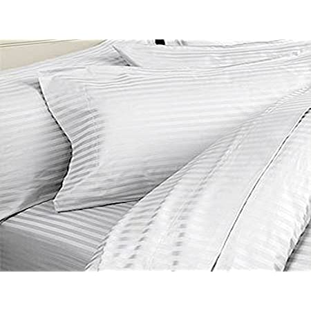 PumPum Soft Cotton Stripes Full Size Body Pillow Cover - 20 x 54 inches (White Stripes) - Set of 2