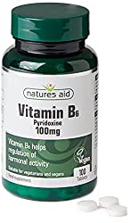 Natures Aid Vitamin B6, 100 Tablets (100 mg Vitamin B6, Pyridoxine, for the Reduction of Tiredness and Fatigue, Vegan Society Approved, Made in the UK)