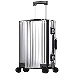 Sindermore Aluminum Hardside Luggage, Rolling Spinner Suritcase With TSA (Carbon Fiber Silver, 25 inch)