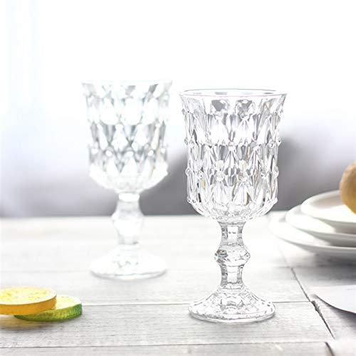 Z-Y Taza de Cafe Copa de Vino Vaso de Whisky 2 Unids Vidrio Vino Libre De Plomo Claro Diamante Grabado Rojo Vino Coplet Home Bar Fiesta Champagne Cóctel Copa De Vidrio Bebida 2ml