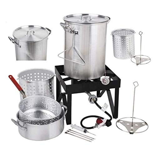 Mine seven Deluxe 30 Qt. Turkey Deep Fryer Set | 55,000 BTU | Thanksgiving Outdoor Cooking + Many Accessories