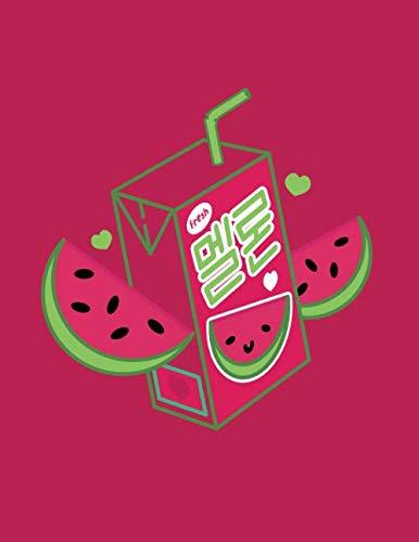 Notizbuch: Süße Melonensaft Box Schulheft Journal Tagebuch | Kawaii Japanisch Koreanisch Japan Süd Korea | 120 Seiten A4 Liniert