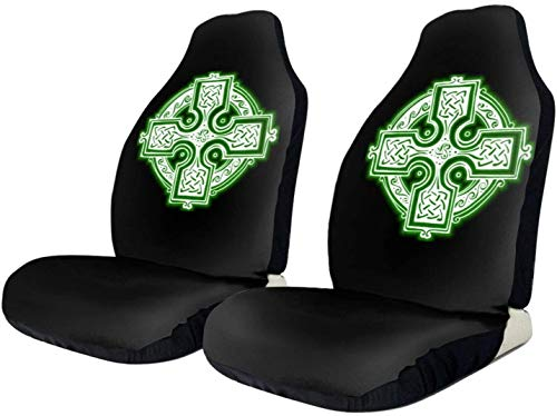 2 PCS Car Seat Covers, Christian Celts Symbol Knot Celtic Cross Auto Front Bucket Seat Protector Fit for Cars Trucks SUV, Durable Quality Seat Covers Easy Installation