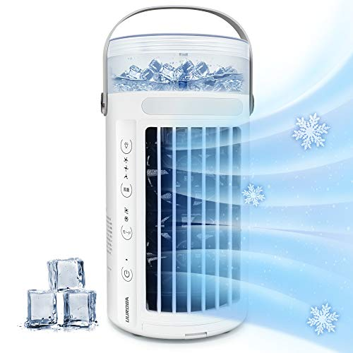 冷風機 冷風扇 卓上扇風機 扇風機 小型 冷風扇風機 卓上冷風機 れいふうき 強力 人気 小型クーラー れいふうせん 加湿 冷却 空気清浄 暑さ対策グッズ 風量3段階調整 寝室 オフィス ホワイト UUROBA